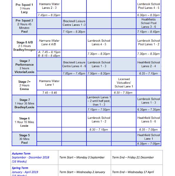 Academy Training Schedule
